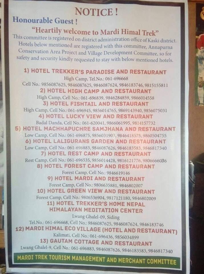 mardi himal trek hotels