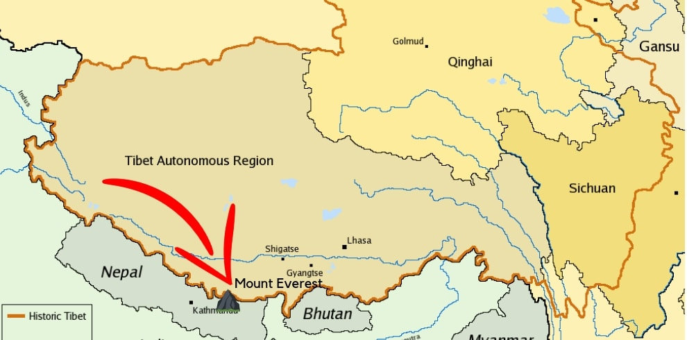 Where is Mount Everest located at in Tibet Map