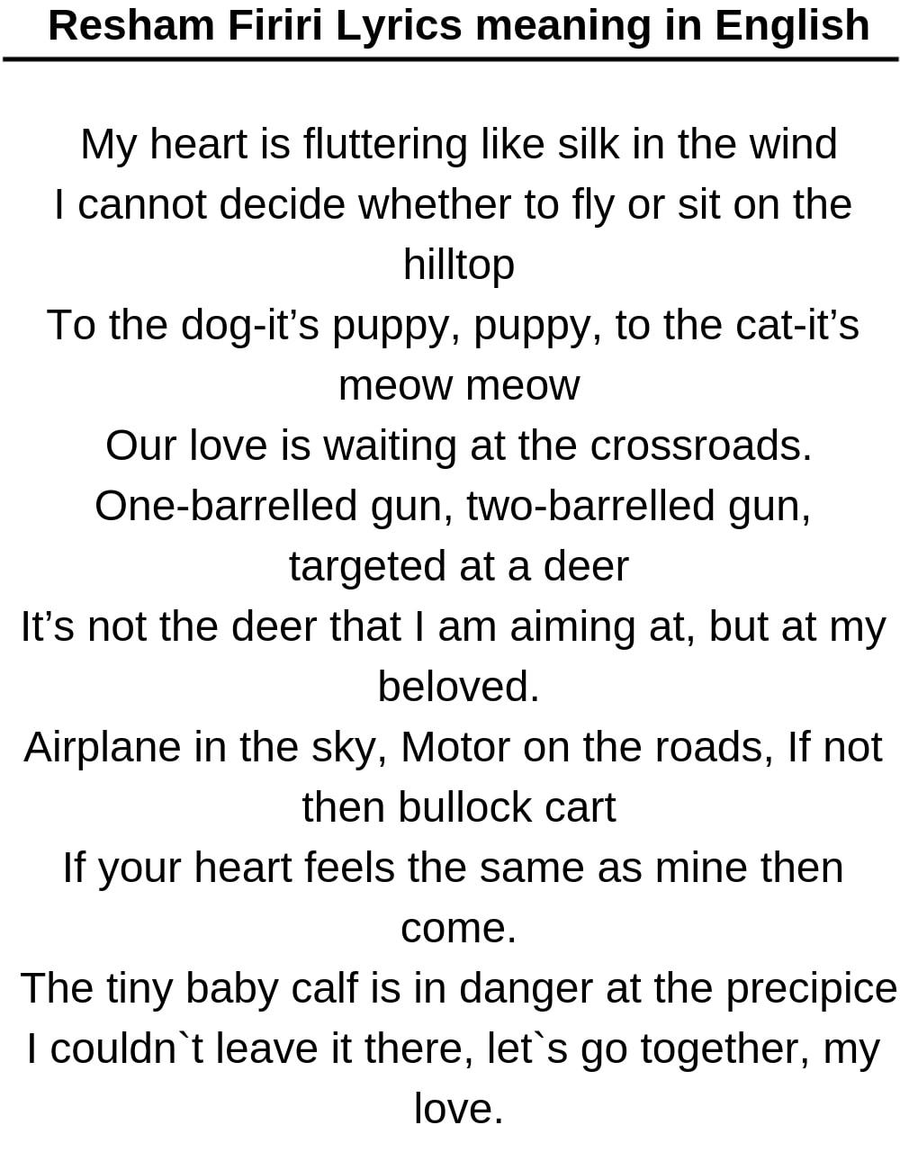 Resham Firiri Lyrics meaning in English