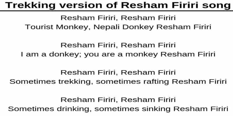 Trekking version Resham firiri Lyrics