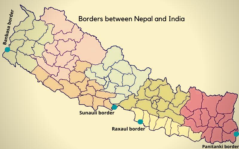 Borders between Nepal and India