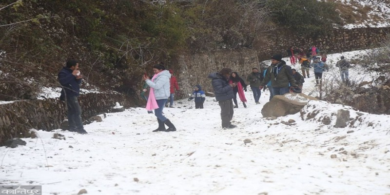 snowfall in Phulchowki